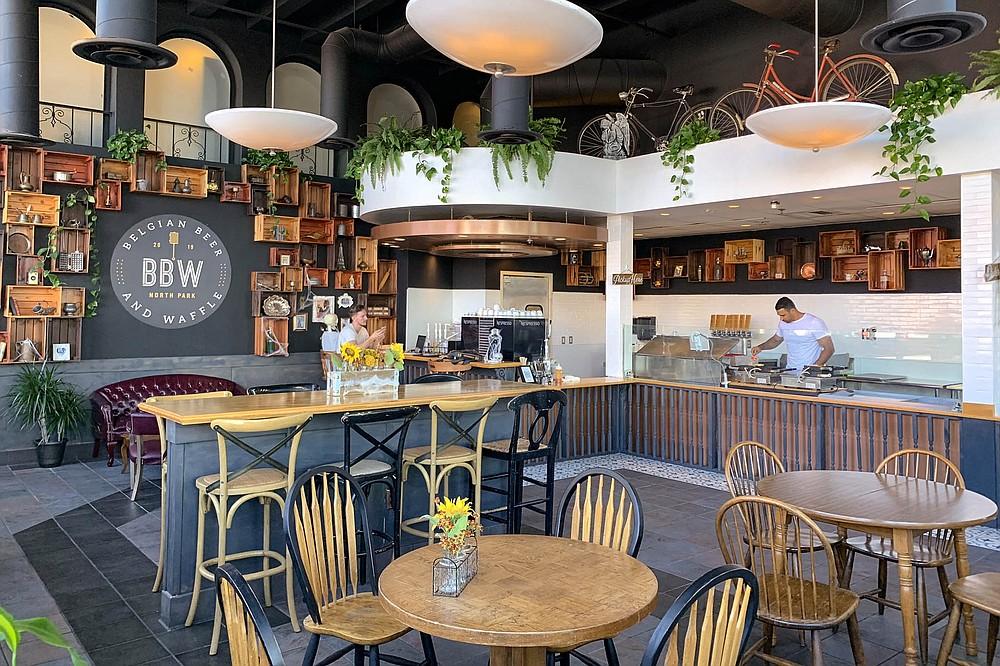 No longer a Starbucks, this waffle shop sports continental decor.
