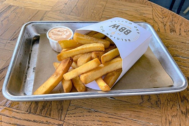 Belgian french fries: twice fried in beef grease
