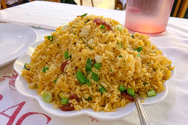 A heaping pile of fried rice cooked for a Mexican palate