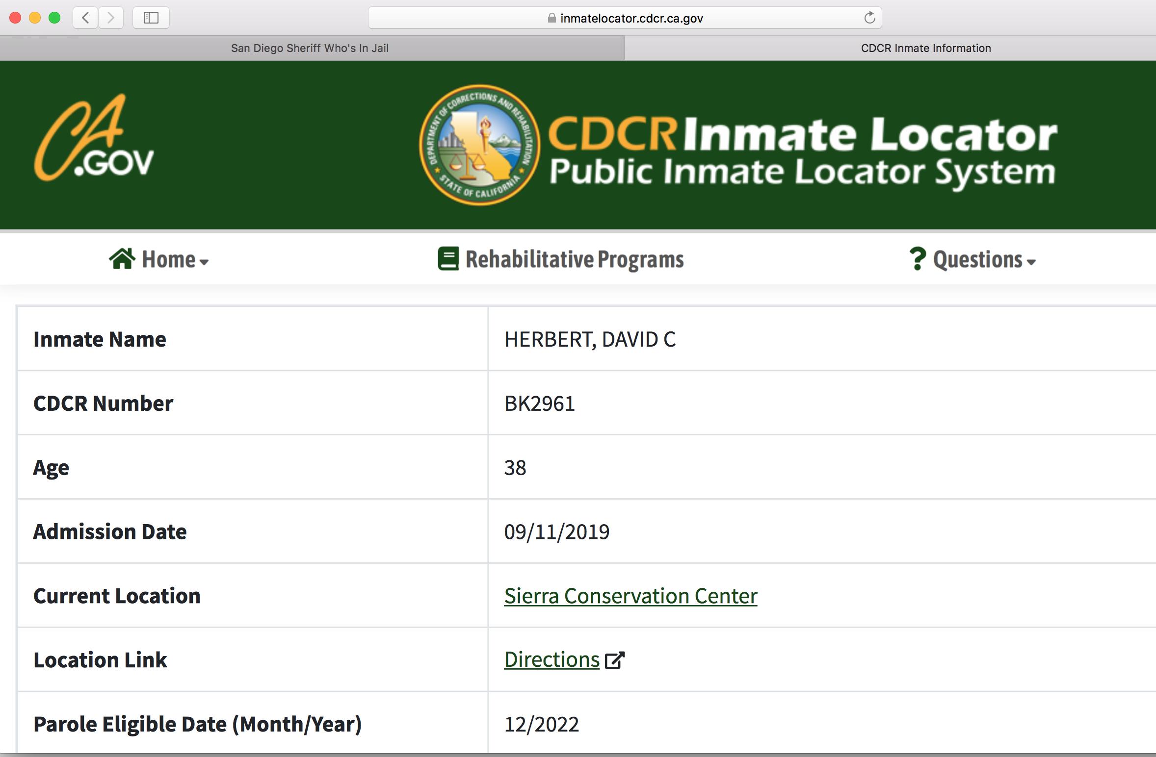 Herbert might get paroled in 3 years.