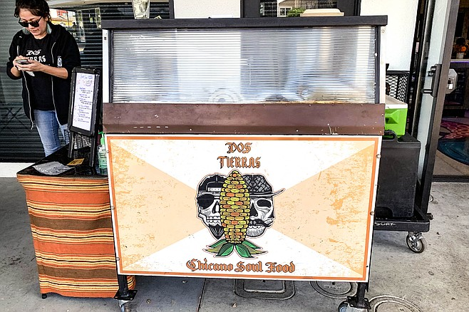 This taco cart from Chicano Soul Food appears at coffee shops, breweries, and more.