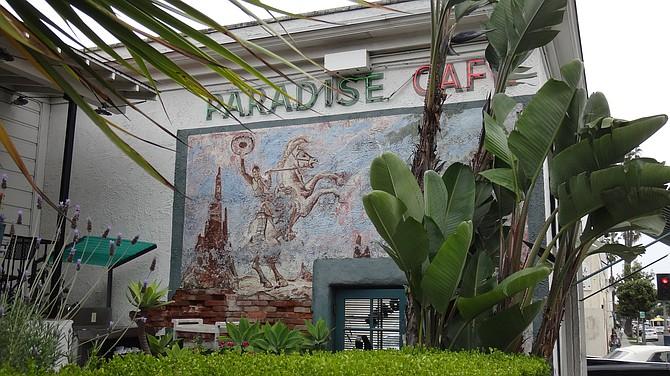 Paradise Cafe in Santa Barbara, with Leo Carrillo mural. Photo taken in 2013