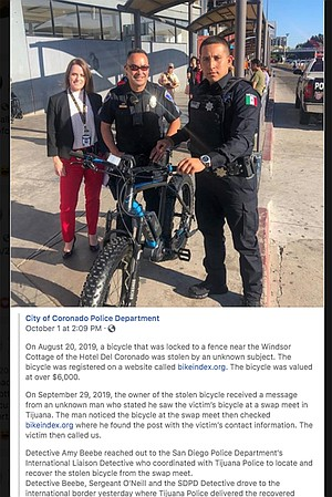 This photo from a Facebook post shows Det. Beebe, Sgt. O'Neill, and the assisting Tijuana police officer when the bike was returned.