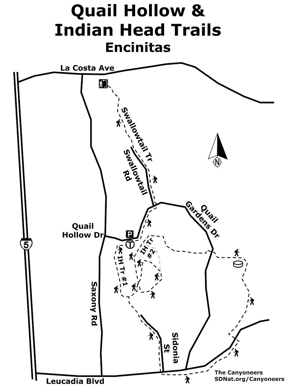 Quail Hollow & Indian Head Trails map
