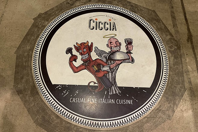 The painted floor medallion at Ciccia Osteria