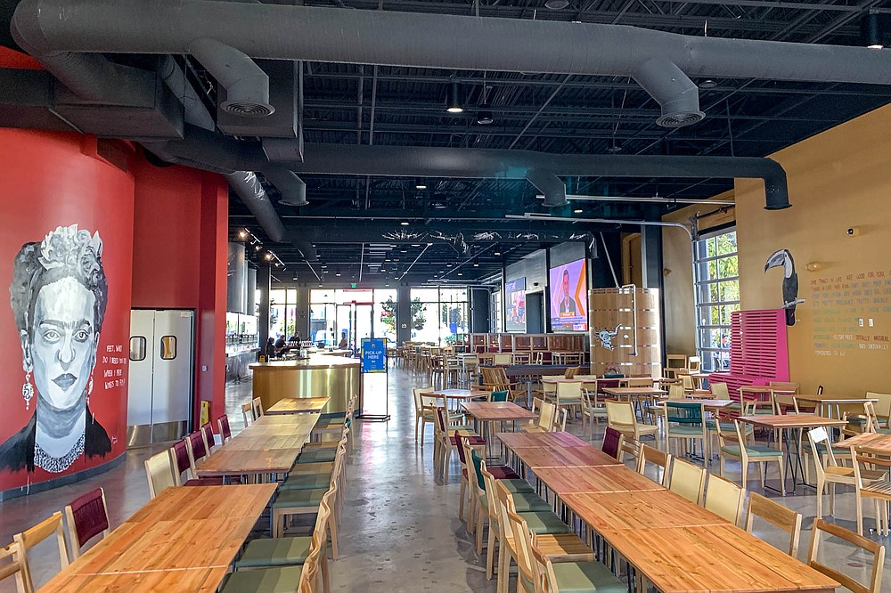 A 14-thousand-square-foot brewery and restaurant with 14 x 10 foot TV screens