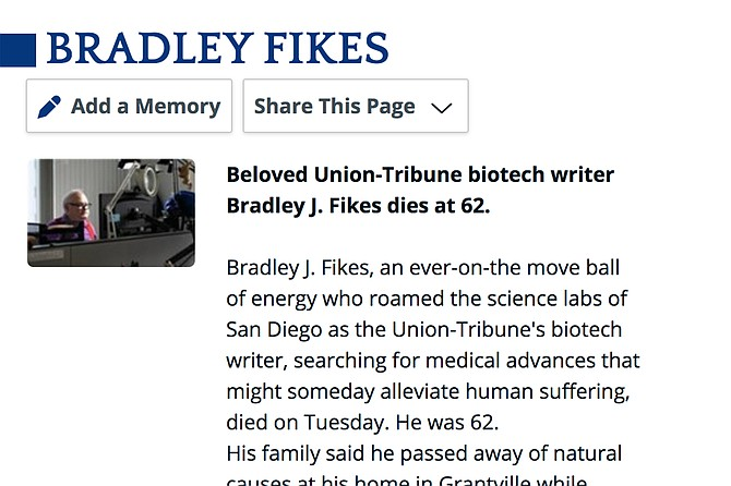 Obituary for U-T writer (and San Diego Reader commenter) Bradley Fikes.