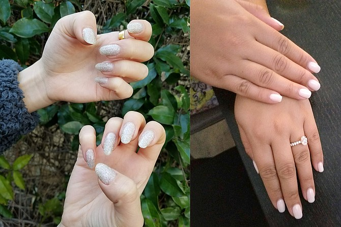 Jennifer achieves fierce and sparkly fingertips with dip powder; Right: Justine's pristine gel manicure send bride vibes
