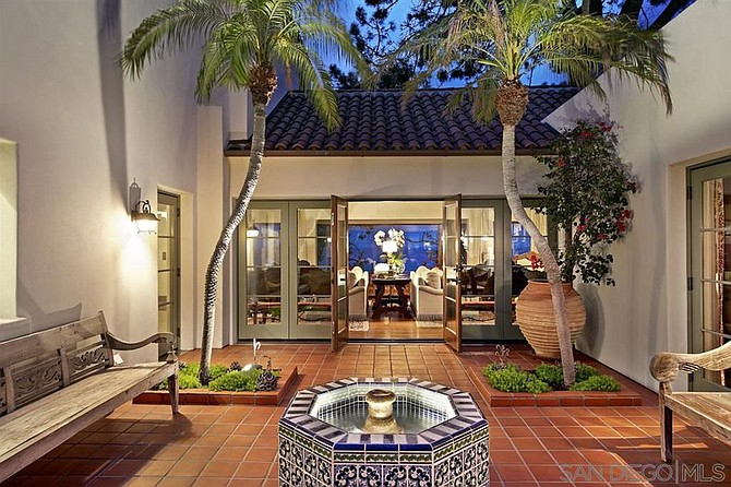 French doors, Spanish tile, California living.