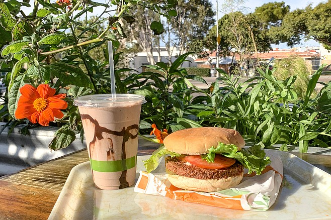 Nondairy chocolate shake and vegan hamburger
