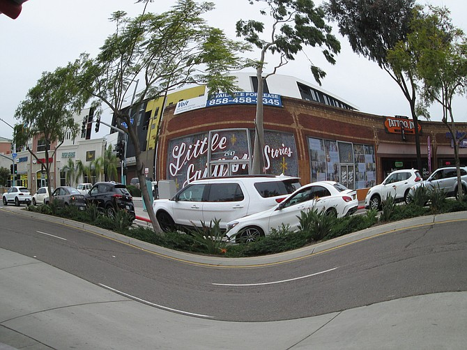 A fisheye view of the corner of 30th and El Cajon Blvd. in North Park. Taken 12/3/2019 with a Canon A2400 IS.