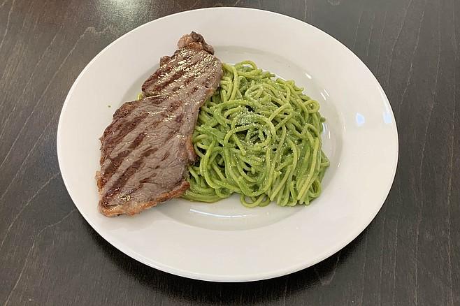 Pesto spaghetti and grilled top sirloin