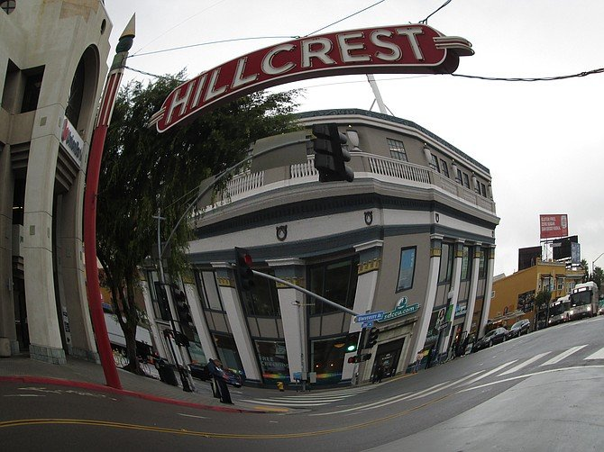 Fisheye lens view of 5th & University in Hillcrest. Taken Dec. 4, 2019
