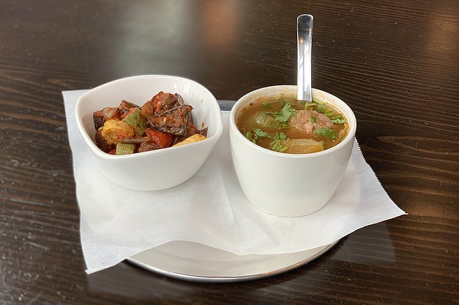 Chunky albondigas soup with a side of roasted vegetables