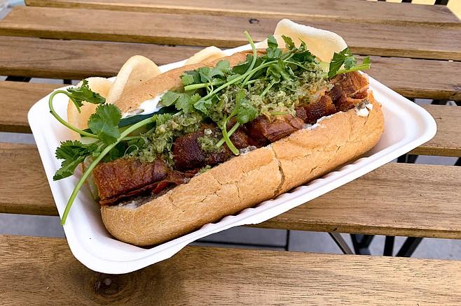 Vegan pork belly bánh mì