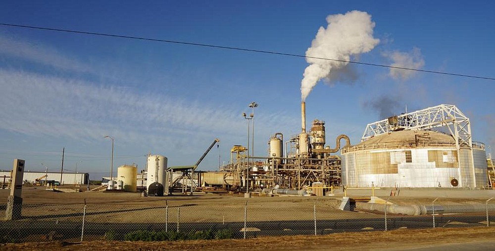 The power plants operate by converting hot brine into steam.