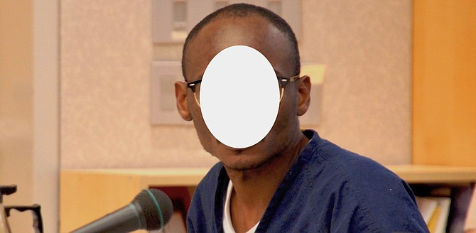 33-year-old Edozie. Divorce between Edozie and Jaynie's 67-year-old mom finalized in September. (Face obscured on judge's request.)