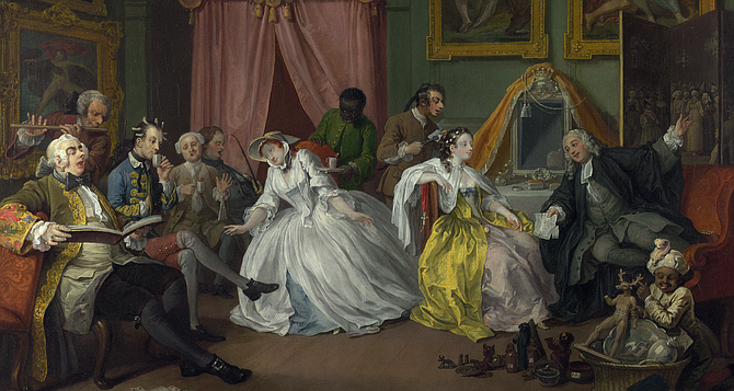 Hogarth's The Countess's Morning Levee (ca. 1744), the inspiration for the Marschallin's morning reception in Act I