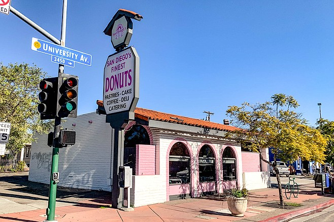 A pink donut shop long serving City Heights
