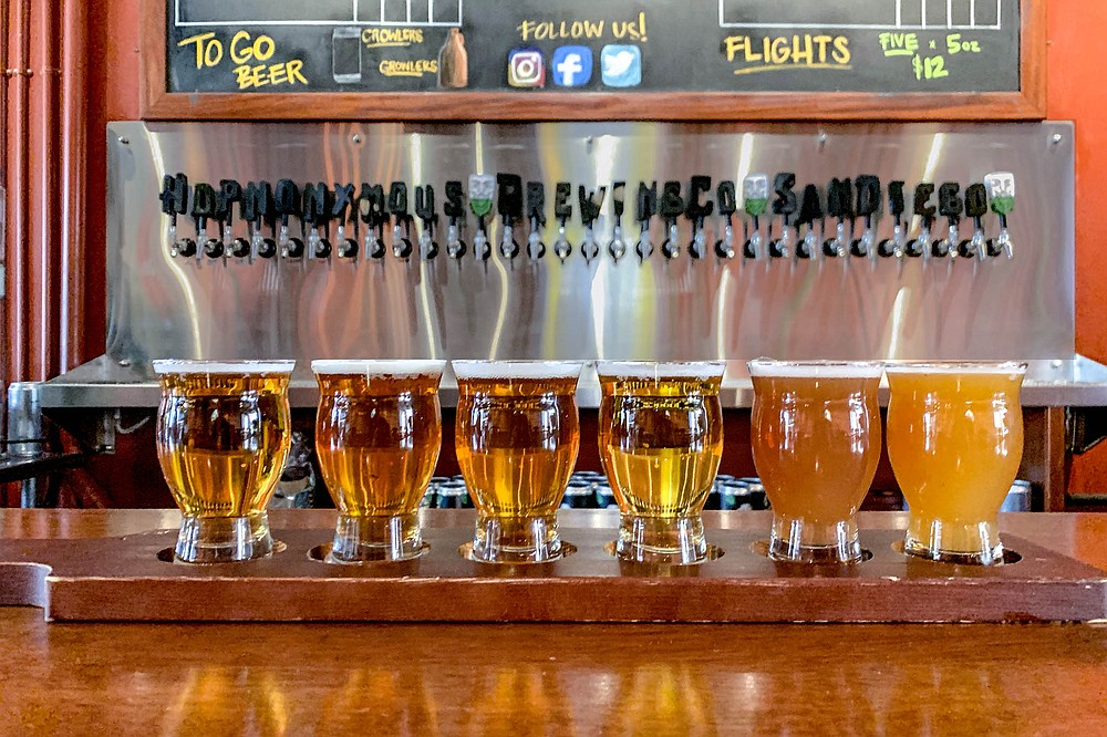 These tap handles spell out the name of a new San Diego brewery: Hopnonymous Brewing.