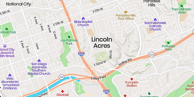 Lincoln Acres map from MapCarta.com