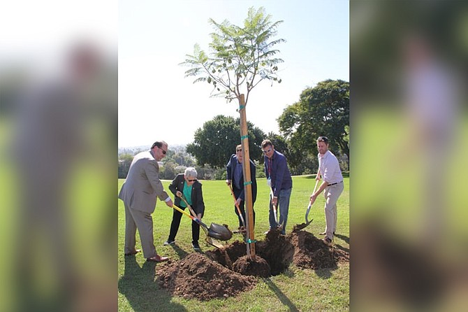 """District 2 Councilwoman Jen Campbell, second from left, """"Did a photo op at Kate Sessions to plant a tree, which shows how completely out of touch she is to our crime issues and our homeless problems,"""" one PB resident complained."""