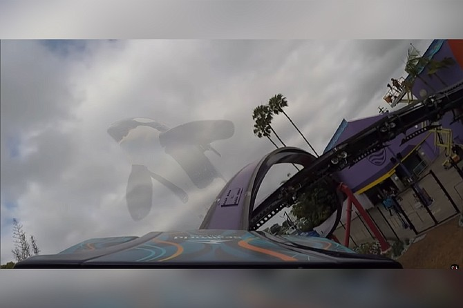 Killer whales can't come back from the dead to haunt their captors — OR CAn they? A screenshot from a POV video posted to YouTube by one of the poor souls who had to be pried free from the Tidal Twister coaster by rescue workers.