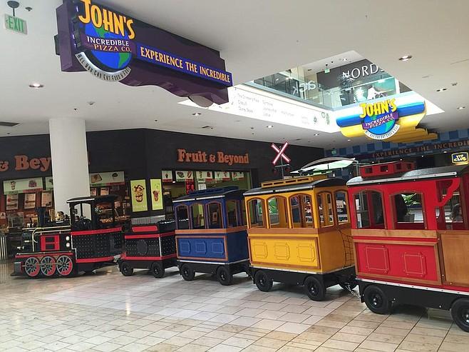 """She loved the choo choo train at Plaza Bonita."""