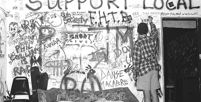 """Band room, SOMA, early '90s.  """"SOMA has the horrible system where you flyer for the shows, and when people come to the door they ask them, 'Who are you here to see?' and if you say 'Powerdresser,' they give us a dollar."""""""