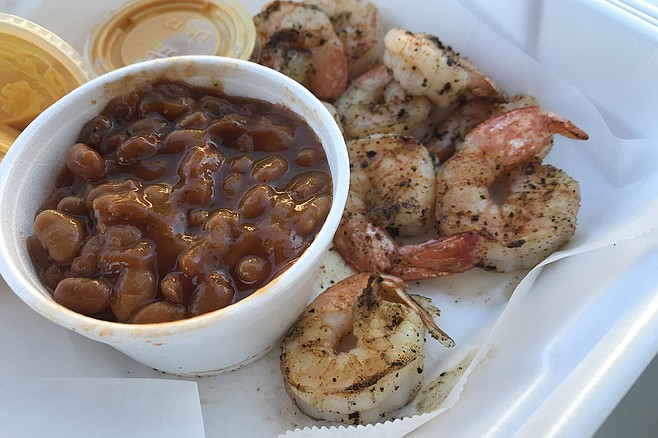 Luscious baked beans with grilled shrimp