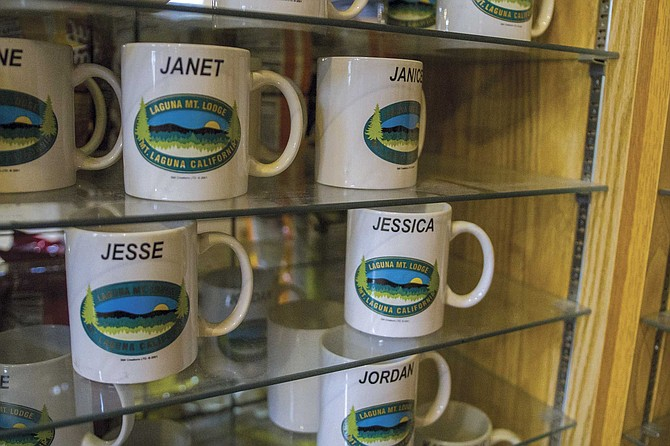 A Laguna Mountain mug with my name on it for $8.57 at the general store.