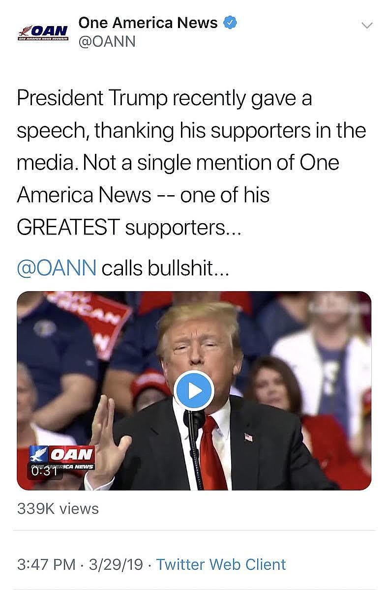Tweet from One America Network