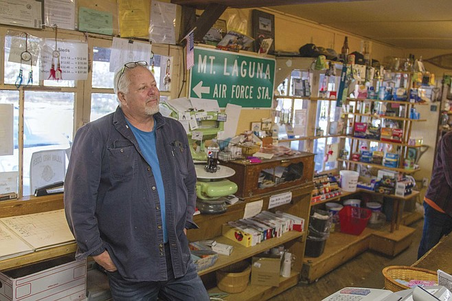 "Tom owns the Laguna Mountain Lodge and Store and is, in Erin's words, a ""classic mountain man."""