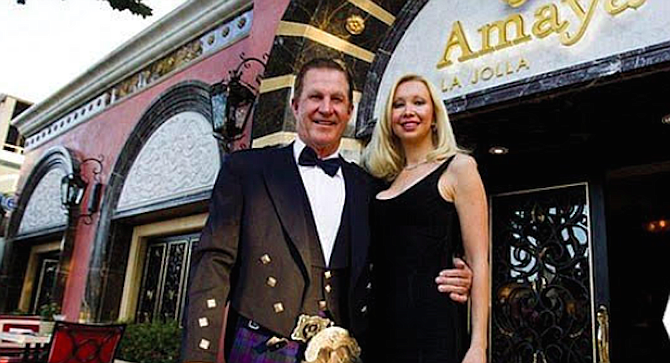 Doug Manchester and Geniya, 2014, in front of Amaya restaurant, owned by Manchester