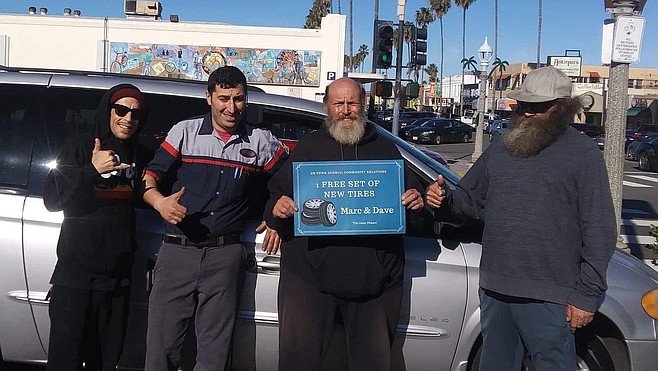 The Ocean Beach Town Council donated new tires for the van.