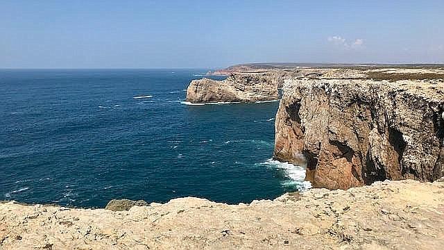 The coastline bluffs in Sagres, Portugal.