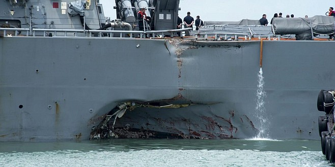 USS John S. McCain and the commercial tanker Alnic MC collided outside the Straits of Malacca (Singapore).10 sailors died, and the McCain sustained significant hull damage.