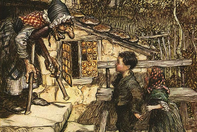 From illustration by Arthur Rackman, 1909