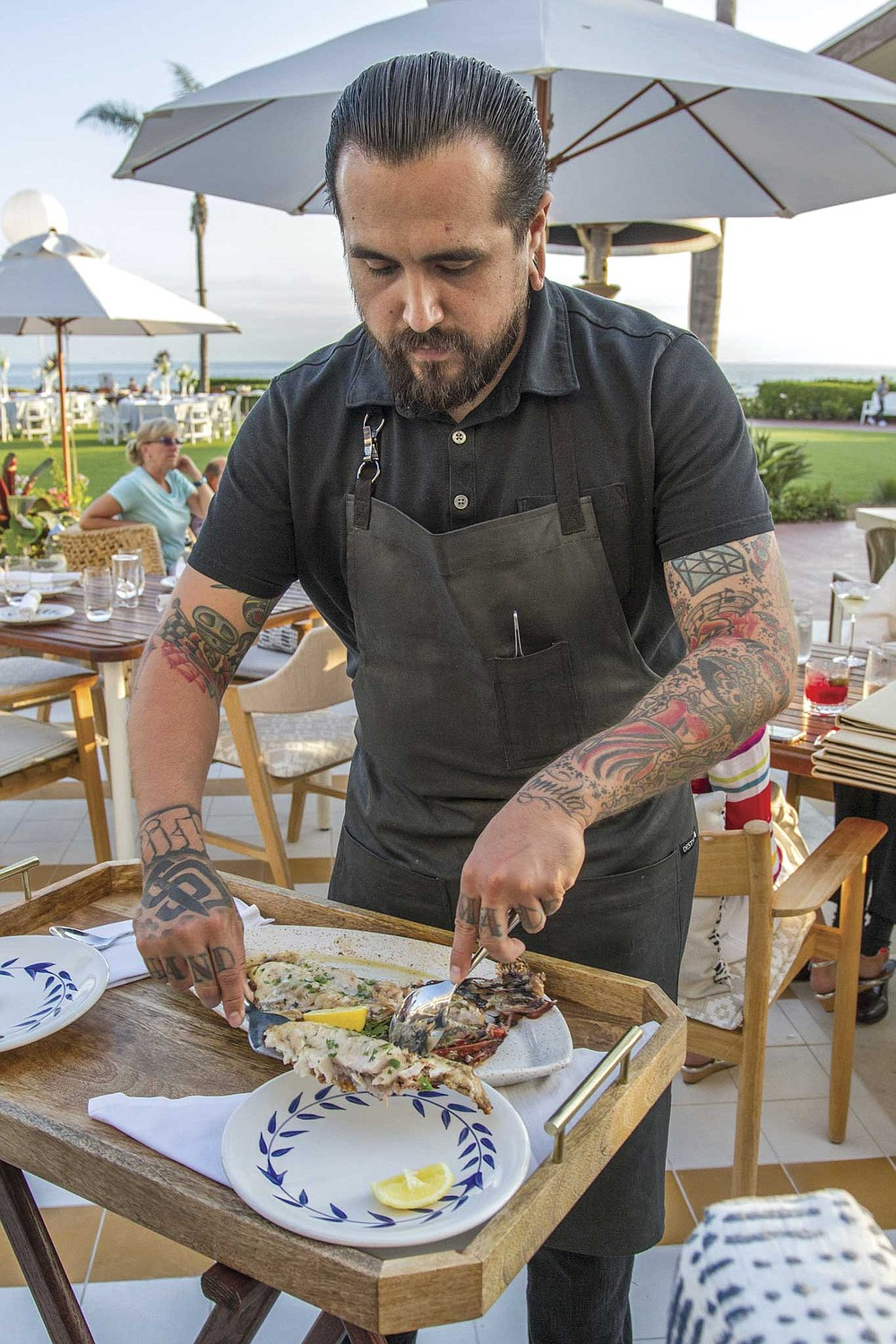 Serẽa's signature preparation is a grilled whole fish for two, fileted tableside by your server, delivering warm, cleanly cut portions of very recent, very local catch. Say, a rockfish caught by John Law, its meaty, flaky white fish glistening with olive oil.