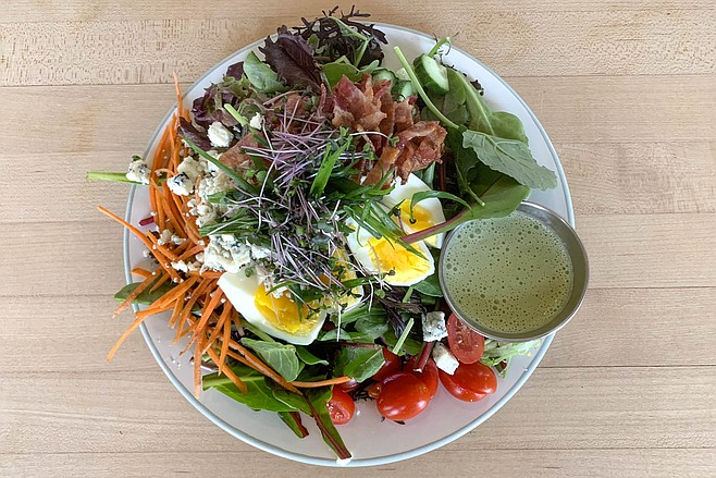 Cobb salad, made super with probiotic herbal dressing and microgreens