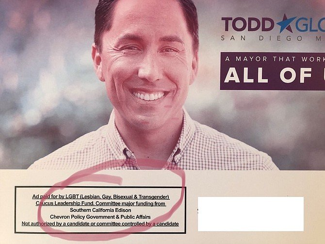 """""""Ad paid for by LGBT (Lesbian, Gay, Bisexual & Transgender [sic]) Caucus Leadership Fund. Committee major funding from Southern California Edison, Chevron Policy Government & Public Affairs. Not authorized by a candidate or committee controlled by a candidate."""""""