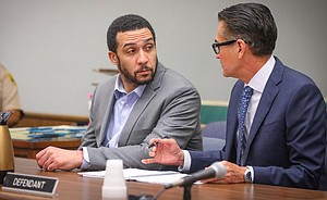 Winslow looked pale and slow in court today. With his atty Marc Carlos. Photo credit, Howard Lipin.