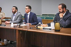 Winslow Jr., atty Marc Carlos, and prosecutor Dan Owens in court today, Feb 19, 2020. Pool photo by Howard Lipin.