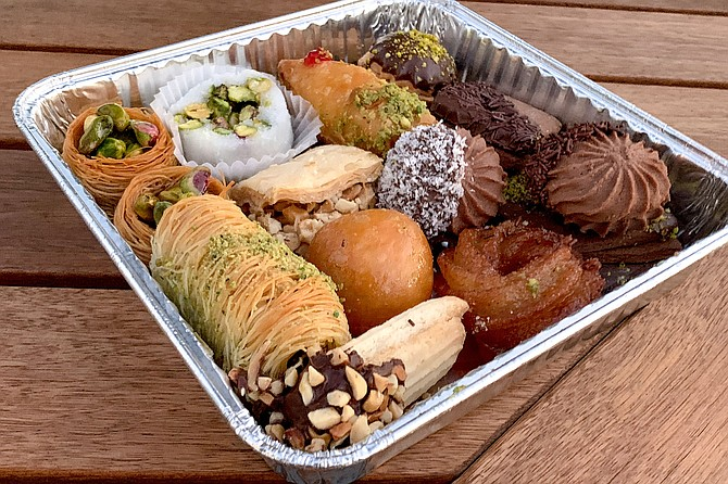 A one pound tray filled with Middle Eastern pastries