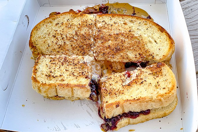 A peanut butter and jelly mozzarella grilled cheese