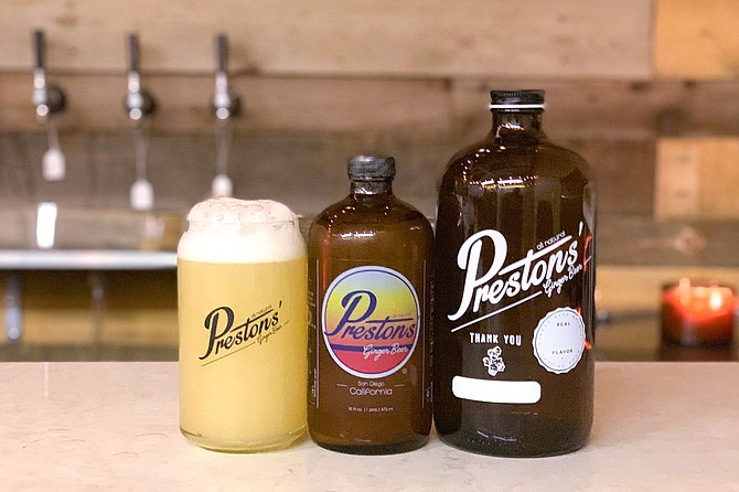 The Preston's Ginger beer taproom serves tasters, bottles, and growlers of non-alcoholic ginger brew.