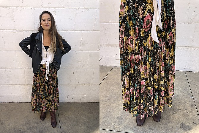 Biotech marketer Mari sports quality clothing brands; Flowing Aritzia peasant skirt, $160
