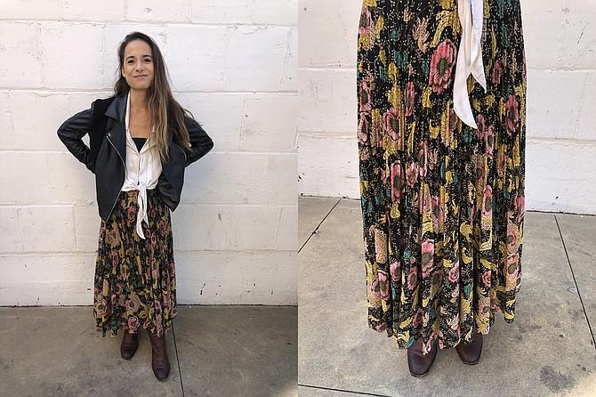 Biotech marketer Mari sports quality clothing brands; Flowing Aritzia peasant skirt, $160