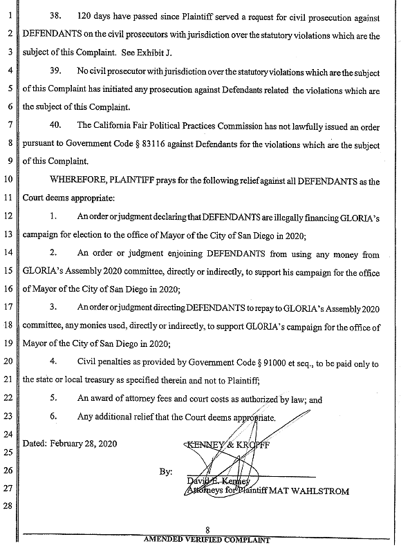 Wahlstrom vs. Gloria, Amended Complaint filed 2/28/20