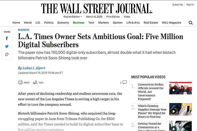 """""""I have made a decision to invest what it will take to make sure that the Los Angeles Times remains a viable business for at least another 100 years,"""" Soon-Shiong told the Wall Street Journal."""